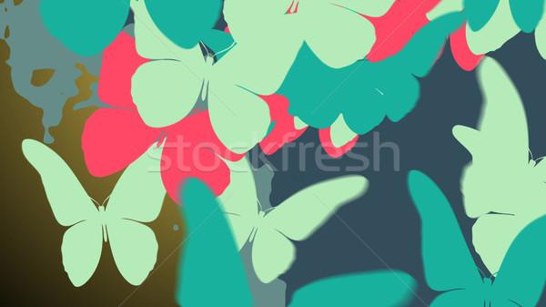 Renkli kelebek 3d illustration soyut doğa dizayn Stok fotoğraf © klss