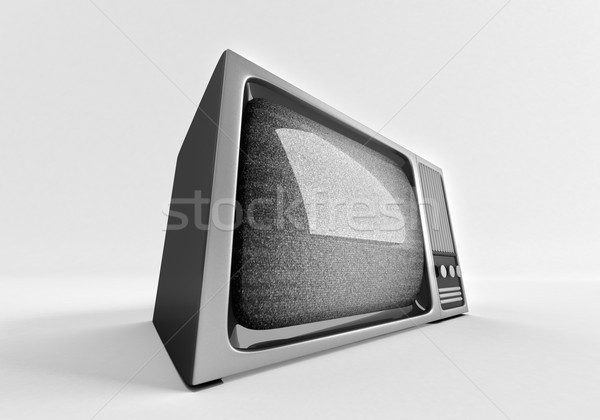 3d model of retro tv with static. Stock photo © klss