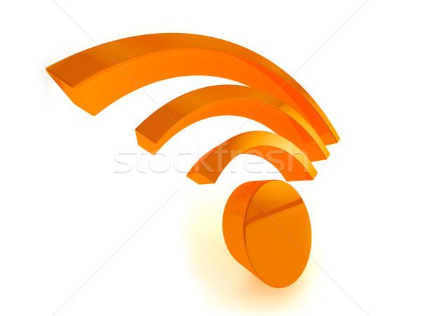 3D wifi icon 3d render witte internet Stockfoto © klss