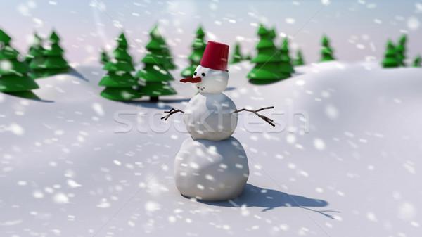 3d визуализации снеговик области деревья Рождества день Сток-фото © klss