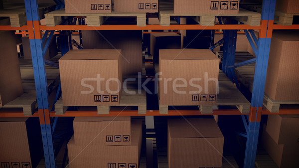 Stock photo: Warehouse interior with racks and crates