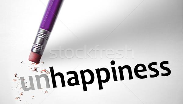 Foto stock: Borrador · palabra · felicidad · papel · sonrisa · salud