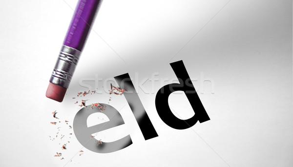 Eraser слово семьи бумаги знак Председатель Сток-фото © klublu