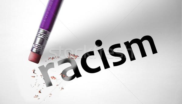 Gomme mot racisme papier Afrique noir Photo stock © klublu