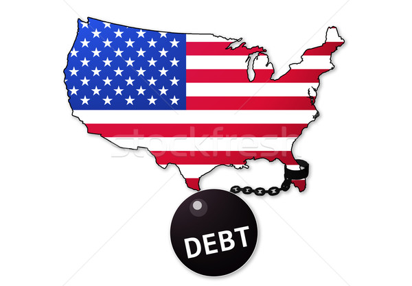 América dívida prisioneiro negócio dinheiro bandeira Foto stock © klublu