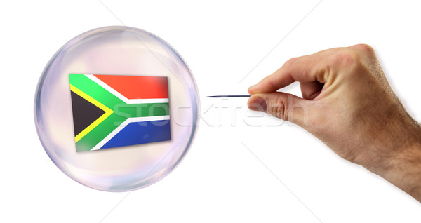 South African economic Bubble about to explode by a needle  Stock photo © klublu