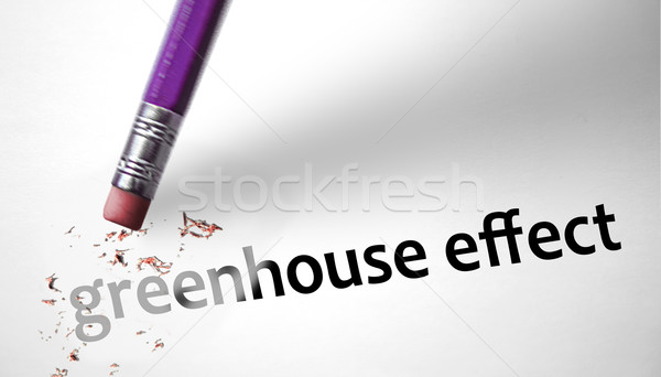 Eraser deleting the phrase Greenhouse Effect  Stock photo © klublu