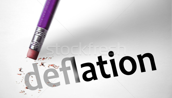 Eraser deleting the word Deflation  Stock photo © klublu