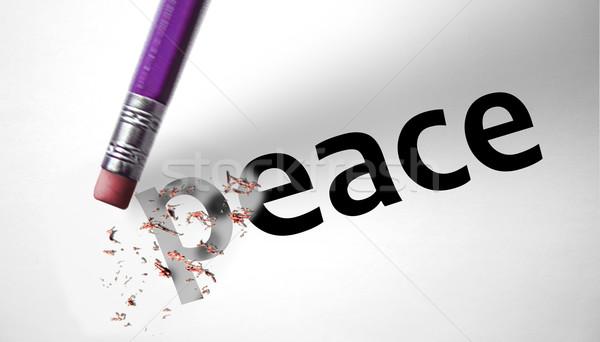 Apagador palavra paz papel amor criança Foto stock © klublu