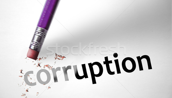 Gomme mot corruption affaires argent crayon Photo stock © klublu