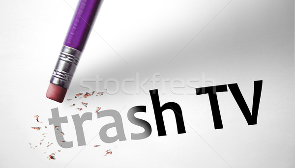 Eraser deleting the concept Trash TV  Stock photo © klublu