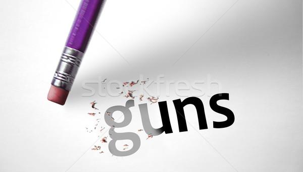 Silgi kelime silahlar kâğıt tabanca ölüm Stok fotoğraf © klublu