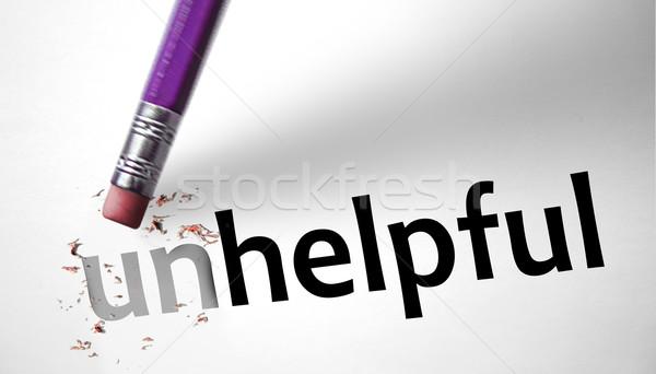 Radír szó hasznos papír kéz felirat Stock fotó © klublu