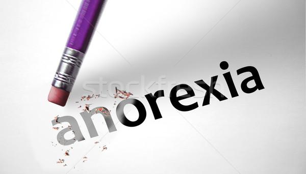 Eraser слово анорексия бумаги медицинской здоровья Сток-фото © klublu