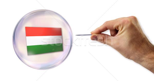 Венгрия экономический пузыря иглы улице банка Сток-фото © klublu
