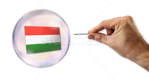 Magyarország gazdasági buborék tű utca bank Stock fotó © klublu