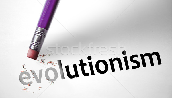 Eraser deleting the word Evolutionism  Stock photo © klublu