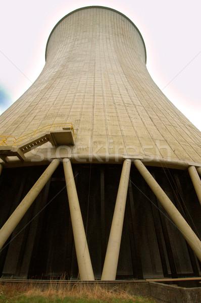 Nükleer elektrik santralı baca Bina teknoloji sanayi Stok fotoğraf © klublu