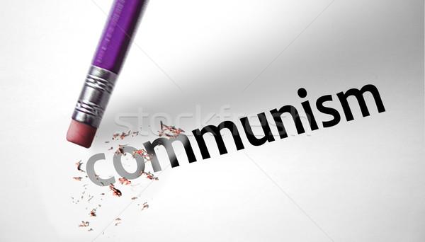 Zdjęcia stock: Gumki · słowo · komunizm · papieru · czerwony · moc