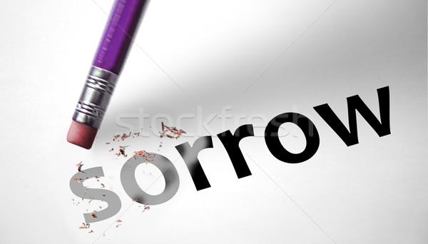 Gumki słowo żal farbują podpisania ból Zdjęcia stock © klublu