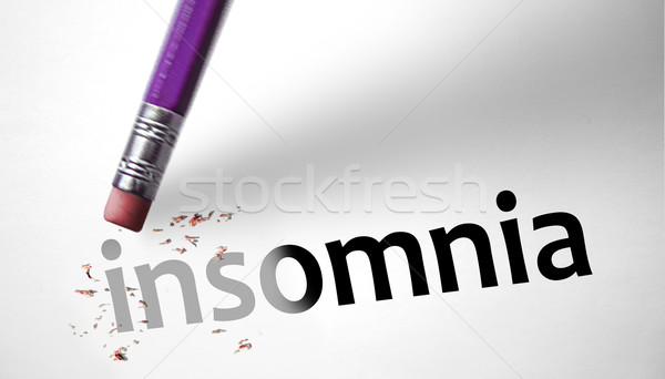 Eraser deleting the word Insomnia Stock photo © klublu