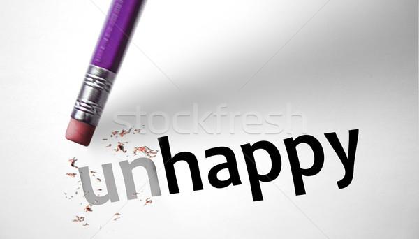 Silgi kelime mutsuz mutlu kâğıt stres Stok fotoğraf © klublu