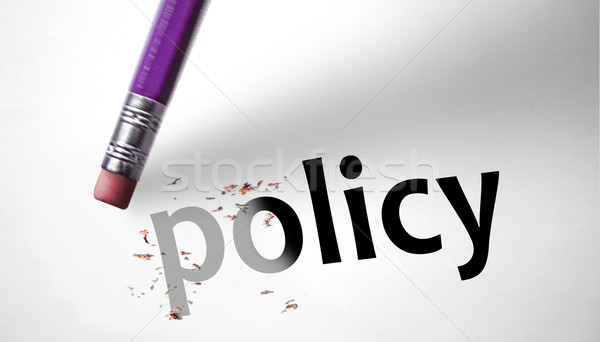 Eraser deleting the word Policy  Stock photo © klublu