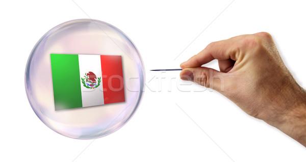 Mexikói gazdasági buborék tű utca bank Stock fotó © klublu