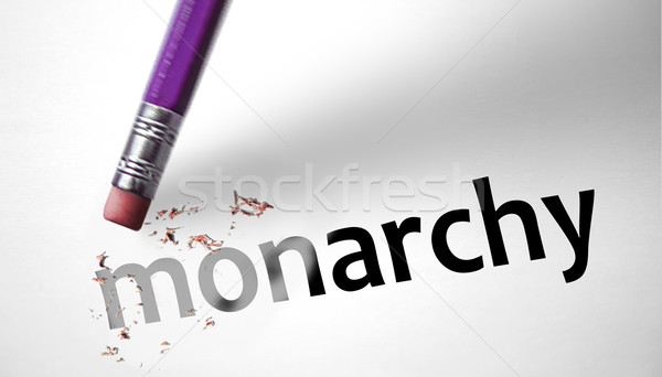Eraser deleting the word Monarchy  Stock photo © klublu