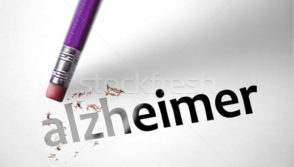Eraser слово карандашом мозг голову хирургии Сток-фото © klublu