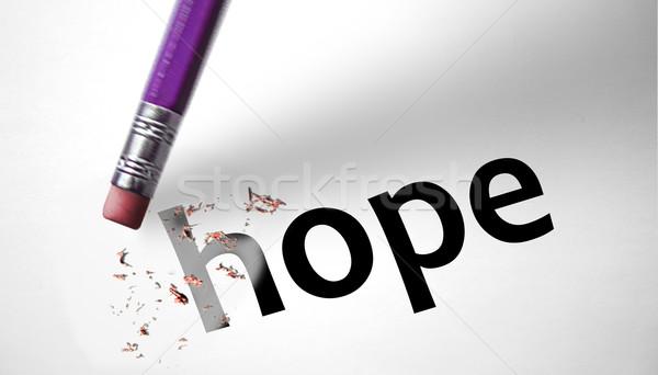 Eraser слово надежды бумаги весны трава Сток-фото © klublu