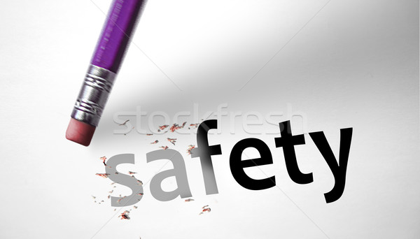 Eraser deleting the word Safety  Stock photo © klublu