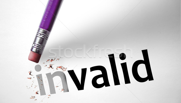 Eraser changing the word Invalid for Valid Stock photo © klublu