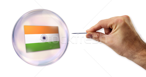 Indian economic Bubble about to explode by a needle  Stock photo © klublu