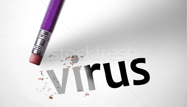 Eraser parola virus tecnologia sicurezza rete Foto d'archivio © klublu