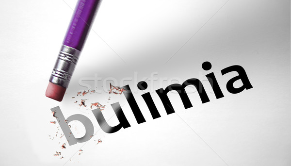 Gum woord boulimia papier voedsel model Stockfoto © klublu
