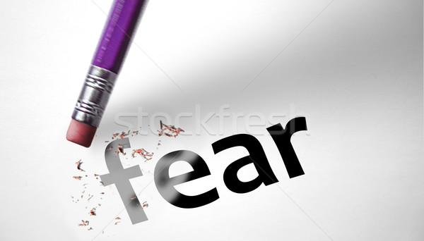 Apagador palavra medo lápis assustador emoção Foto stock © klublu