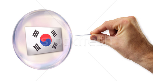 Korean economic Bubble about to explode by a needle  Stock photo © klublu