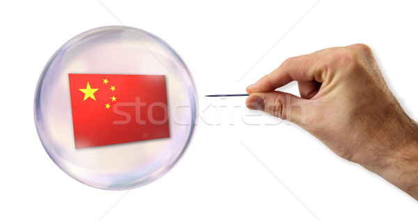 Chinese economic Bubble about to explode by a needle  Stock photo © klublu