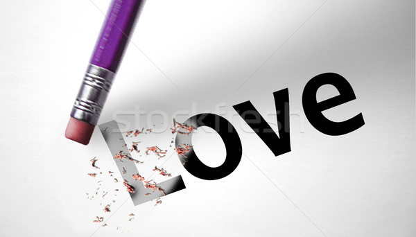 Silgi kelime sevmek kadın mutlu kalem Stok fotoğraf © klublu