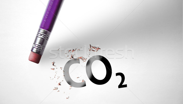 Eraser deleting the word CO2  Stock photo © klublu