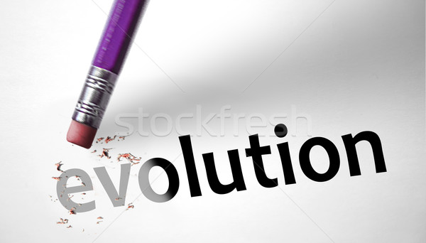 Eraser deleting the concept Evolution  Stock photo © klublu