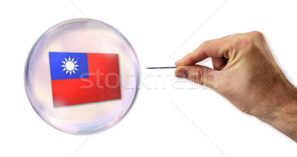 Taiwanese economic Bubble about to explode by a needle  Stock photo © klublu