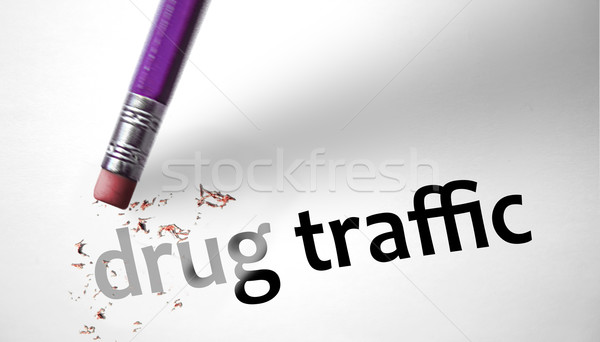 Eraser deleting the concept Drug Traffic  Stock photo © klublu