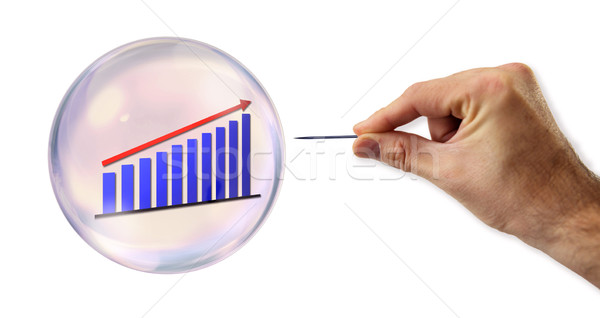 Continued Growth Bubble about to explode by a needle  Stock photo © klublu