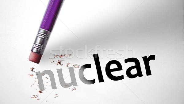 Eraser слово ядерной бумаги войны промышленности Сток-фото © klublu