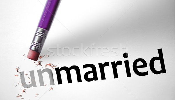 Eraser changing the word Unmarried for Married  Stock photo © klublu