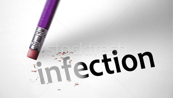 Apagador palavra infecção papel mouse branco Foto stock © klublu
