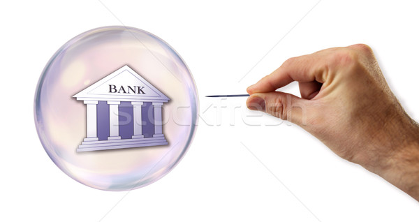 Stock photo: Banking and Credit Bubble about to explode by a needle