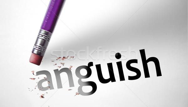 Apagador palavra angústia papel cara cabelo Foto stock © klublu